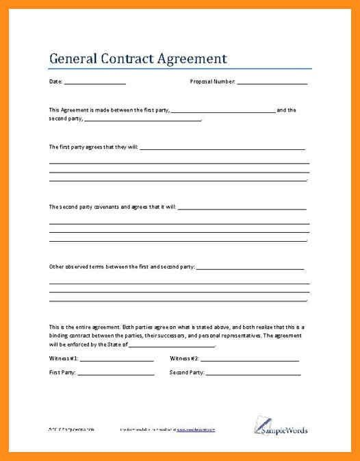 Agreement Template – agenda example
