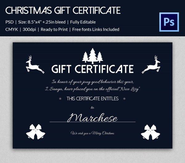 17+ Christmas Gift Certificate Templates - Printable PSD Format ...