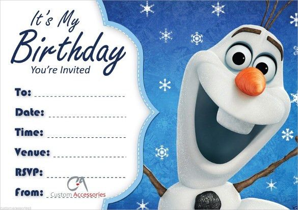 Olaf Birthday Invitations – gangcraft.net