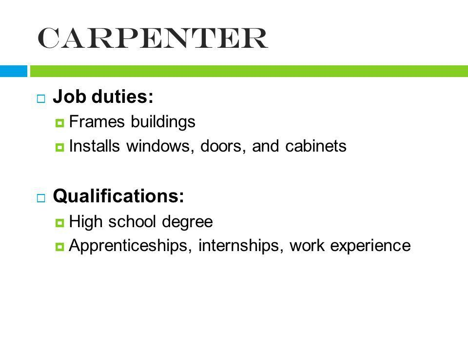 Carpenter Job Description. Previousnext Carpentry Resume Sample ...