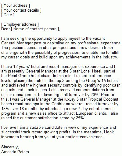 Hotel Manager Covering Letter Sample