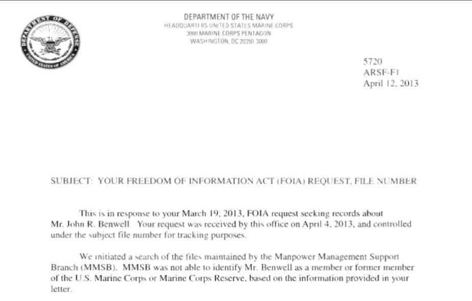 John Robert Benwell, US Marine Major POSER Blog of Shame ...