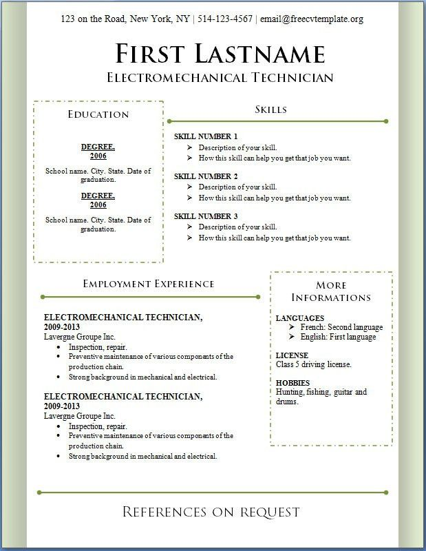 Resume Examples. leading 10 free resume template for word ...