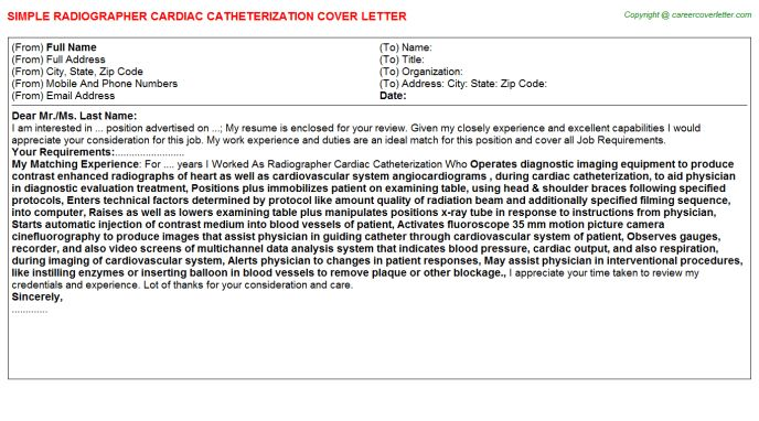 Cardiac Cath Lab Technician Cover Letters