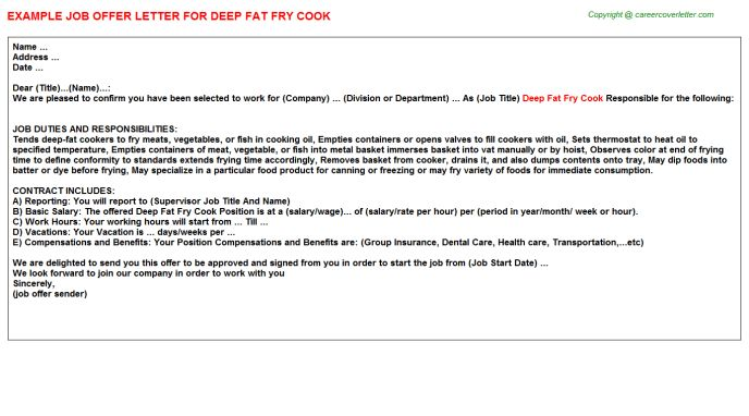 Deep Fat Fry Cook Offer Letters