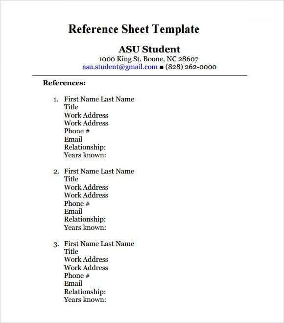 Sample Reference Sheet. Resume Reference Template Professional ...