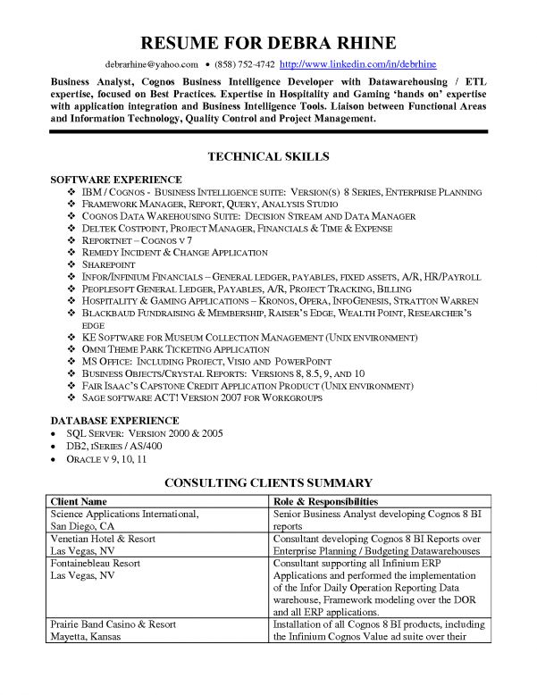 business intelligence resume sample
