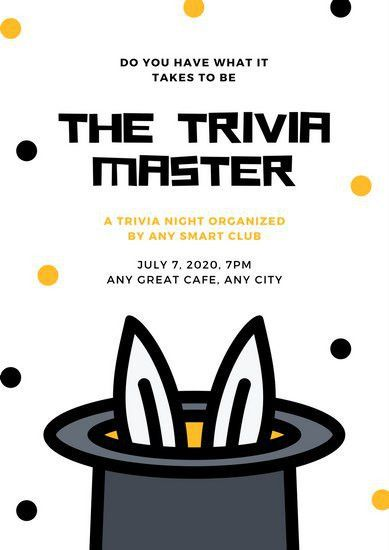 Yellow and Black Dots Bunny in Hat Trivia Night Poster - Templates ...
