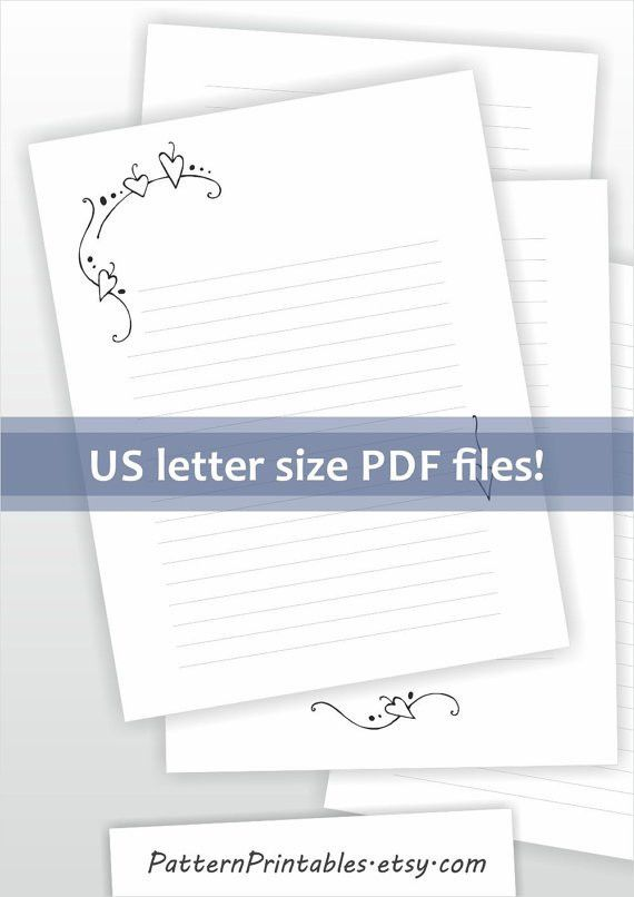Printable writing paper. Lined paper. Digital stationery.