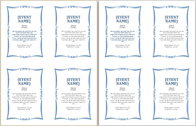 MS Word Generic Event Invitation Card Template | Document Templates