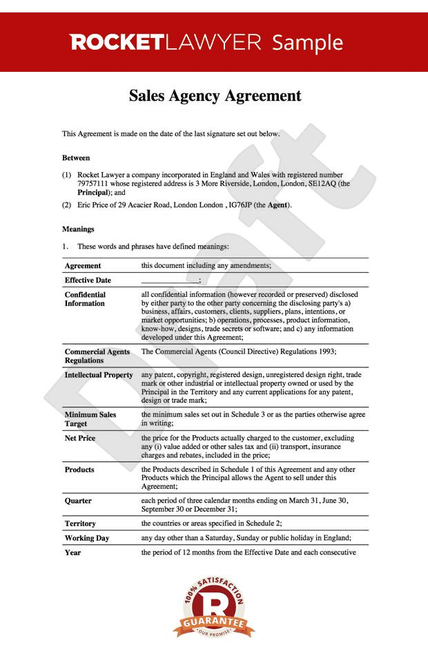 Agency Agreement - Sales Agency Contract Template
