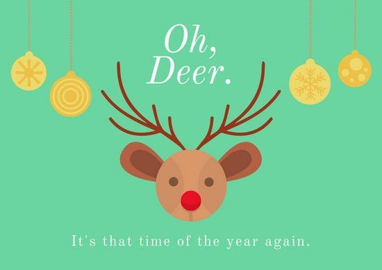 Oh Deer Funny Christmas Card - Templates by Canva