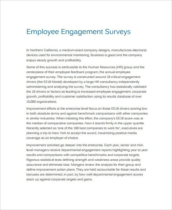 Employment Engagement Survey Template. Medium Scale Business ...