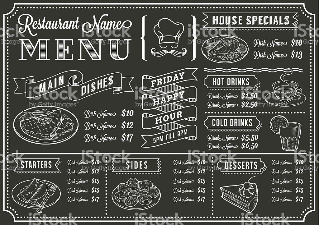Chalkboard Restaurant Menu Template stock vector art 516876833 ...