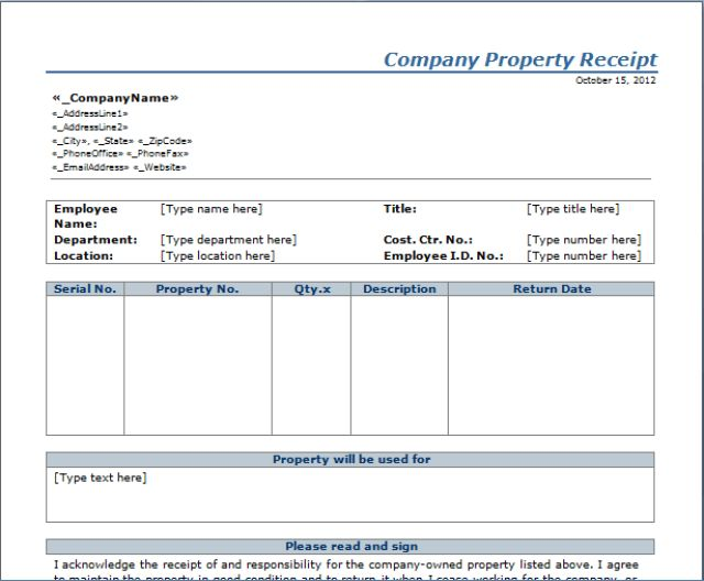 Company Property Receipt Template | Free Layout & Format