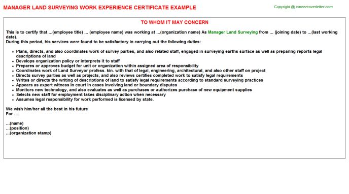 Manager Land Surveying Work Experience Certificate