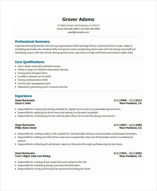 Download Bartender Resume Templates | haadyaooverbayresort.com