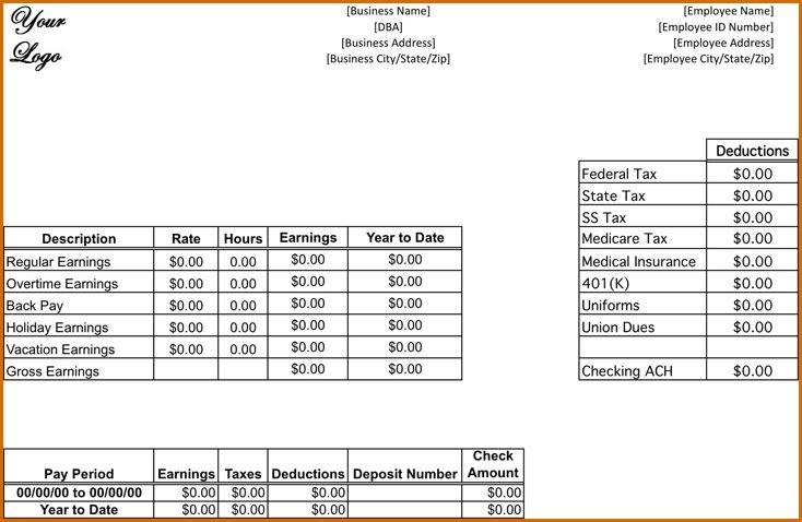 7+ pay stub template free   Authorizationletters.org