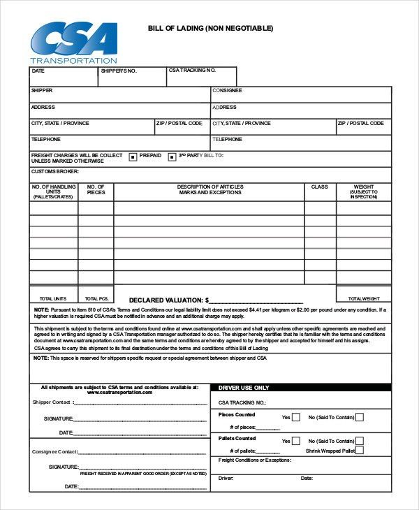 Simple Bill of Lading Template - 11+ Free Word, PDF Documents ...