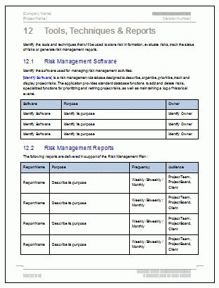 Risk Management Plan Template - 24 pg MS Word & Free Excel templates