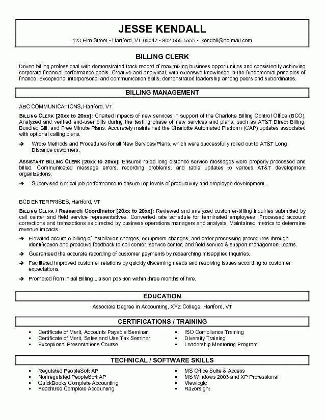 Medical Records Clerk Resume Sample | Template Design