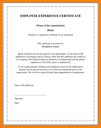 6+ format for work experience certificate | job resumed