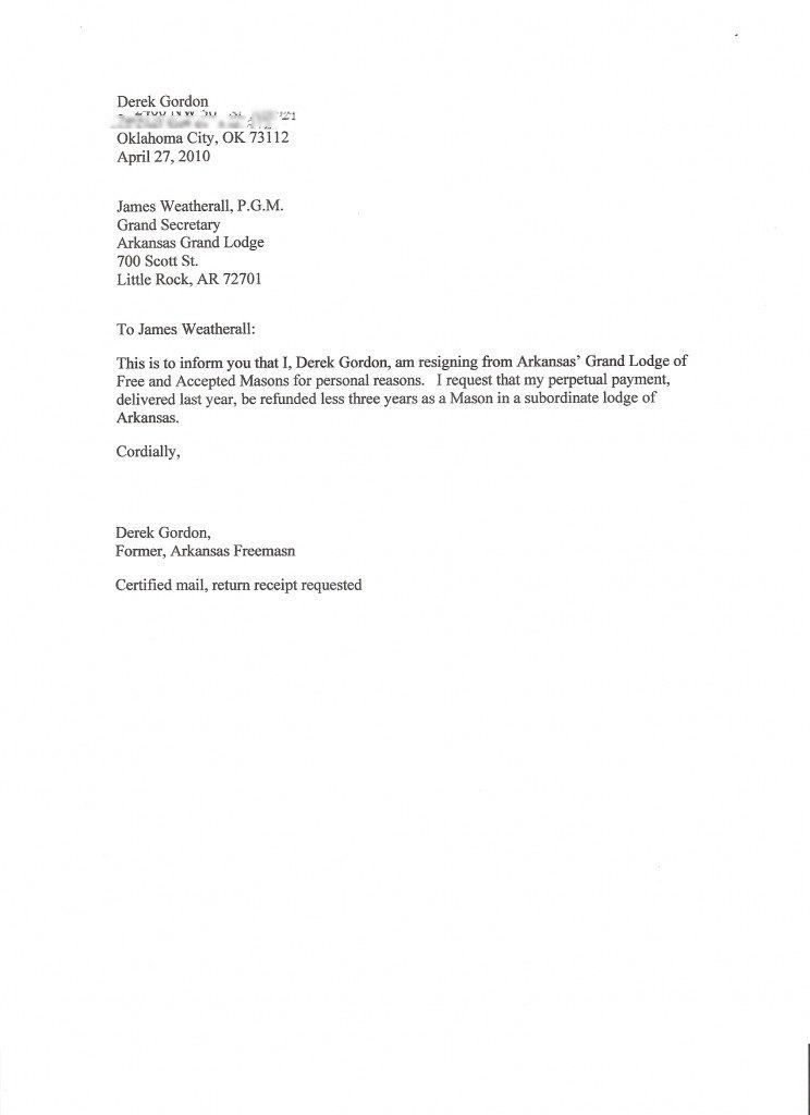 Resignation Letter Format: Freemason Perpetual Payment Resignation ...
