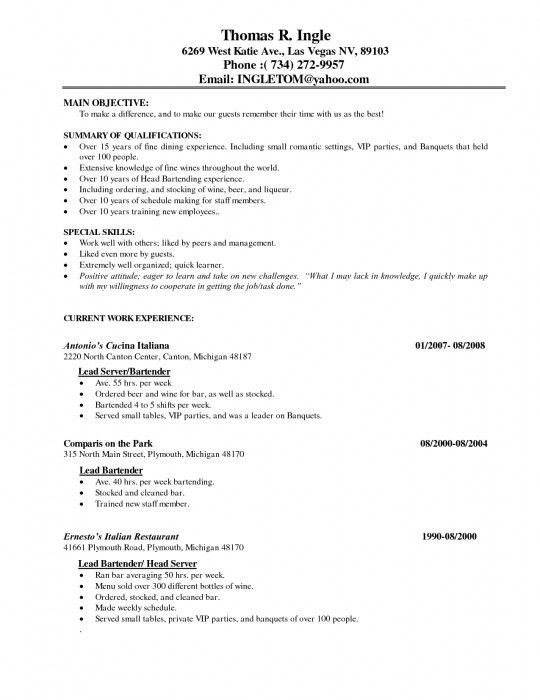 Awesome Fine Dining Waiter Resume | Resume Format Web