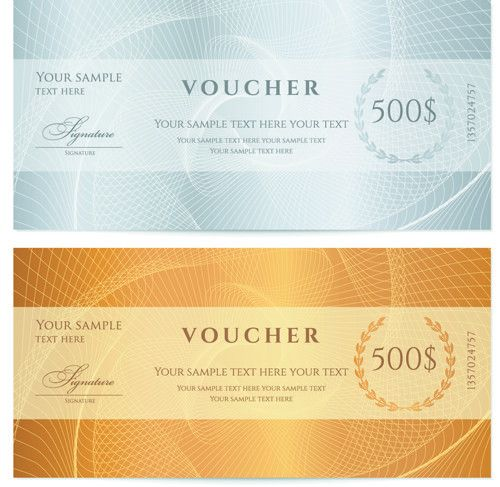 Exquisite vouchers template design vector set 03 - Vector Card ...