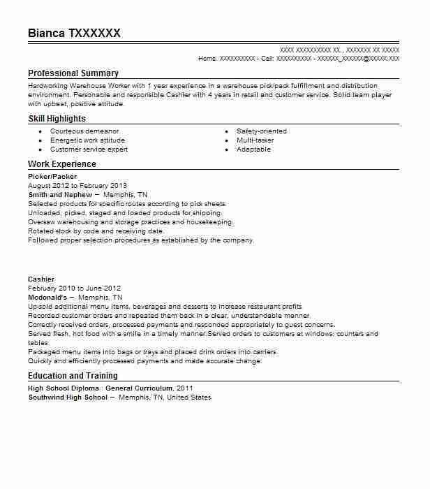 Best Picker And Packer Resume Example | LiveCareer