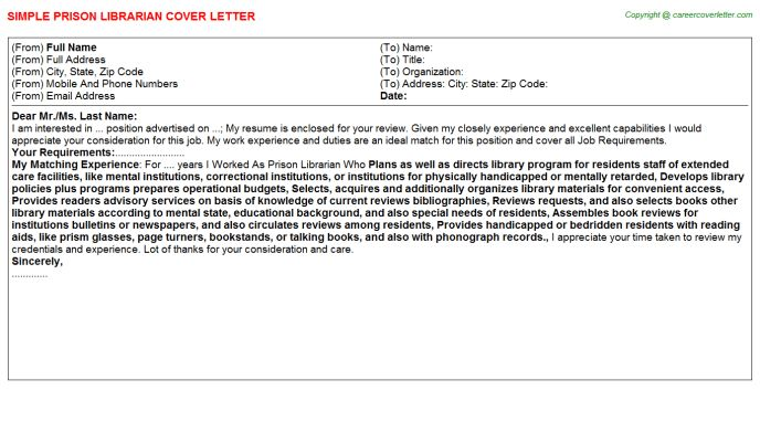 Prison Librarian Cover Letter