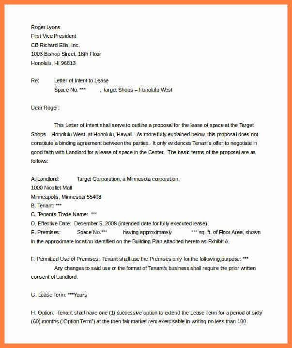 4+ commercial real estate letter of intent template | Life ...