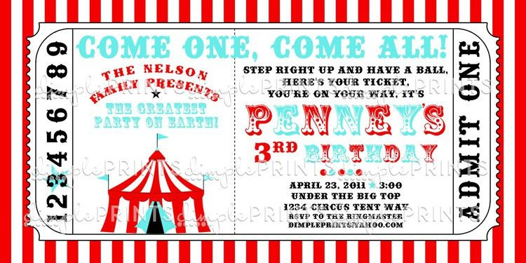 Circus Tent Ticket Printable Invitation - Dimple Prints Shop