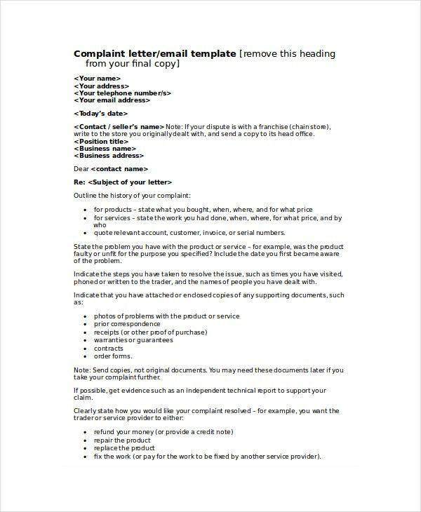 Complaint Letter Template - 8+ Free Word, PDF Documents Download ...