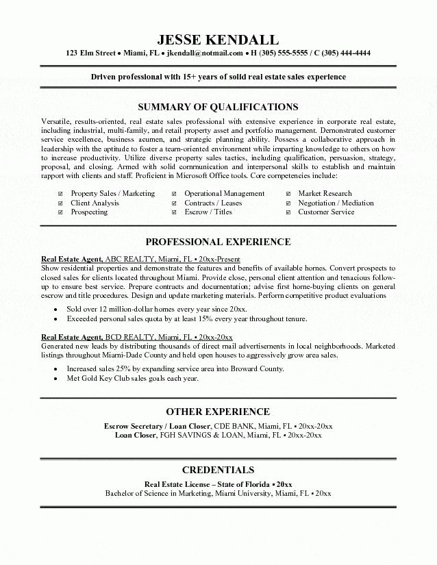 Estate Agent Resume