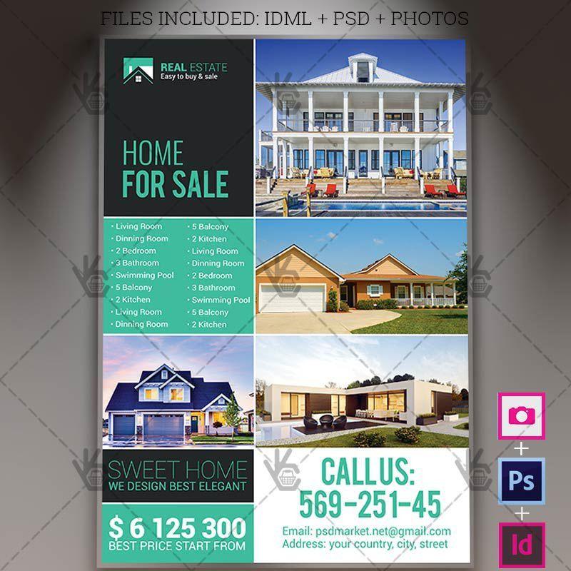 Real Estate Agency - A4 Flyer PSD Template + InDesign | PSDmarket
