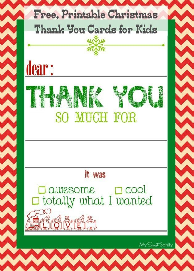 Free, Printable Christmas Thank You Cards for Kids | Free ...