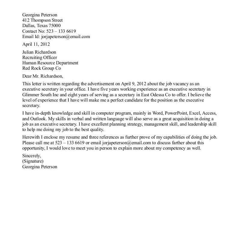 Bold Design Secretary Cover Letter 12 Sample Cover Letter For ...
