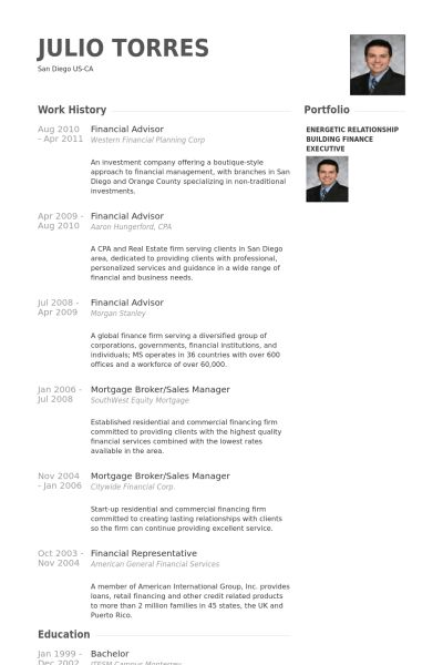 Financial Advisor Resume samples - VisualCV resume samples database