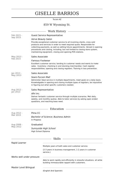 Guest Service Representative Resume samples - VisualCV resume ...