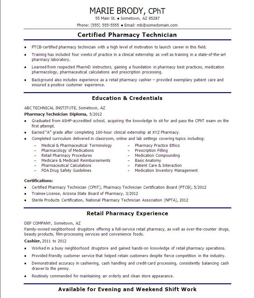 Lead Pharmacy Technician Cover Letter