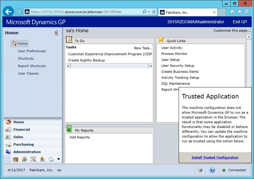 Hands On With Microsoft Dynamics GP 2015 R2: Install Web Client ...