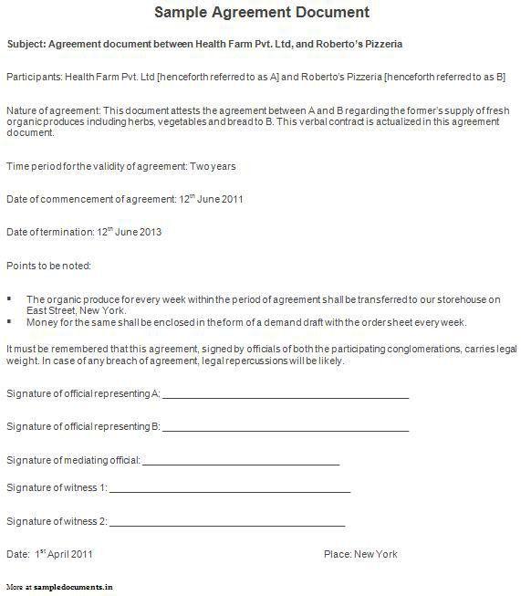 Sample Agreement Document | Legal | Pinterest