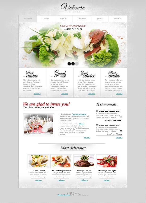 Free Website Template with jQuery Slider for Restaurant Business ...