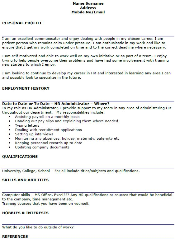 Exquisite Human Resource Administration Sample Resume Wellsuited ...