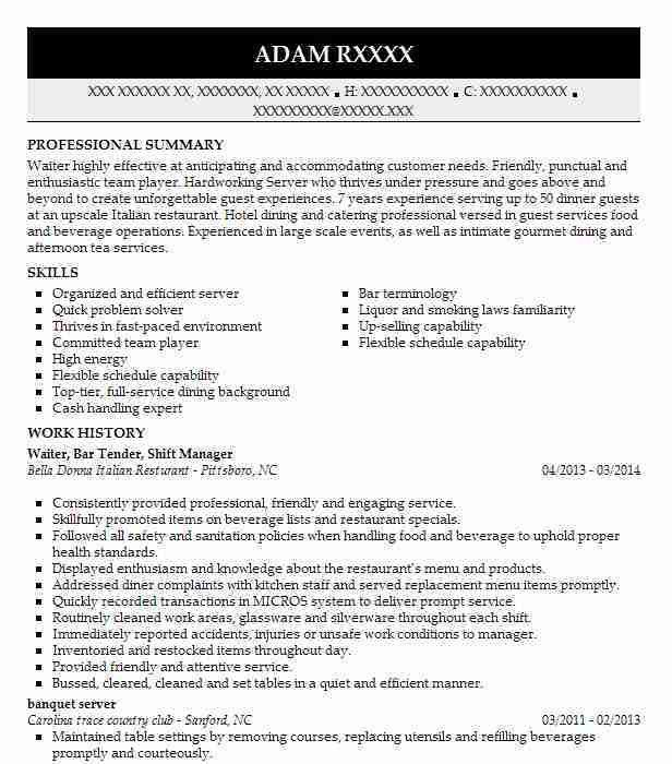 Best Restaurant Shift Manager Resume Example | LiveCareer