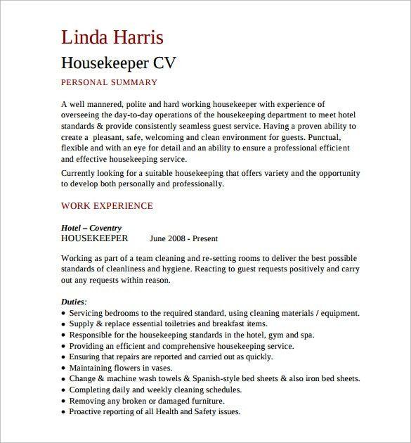 Sample Housekeeping Resume - 11+ Documents in PDF, Word