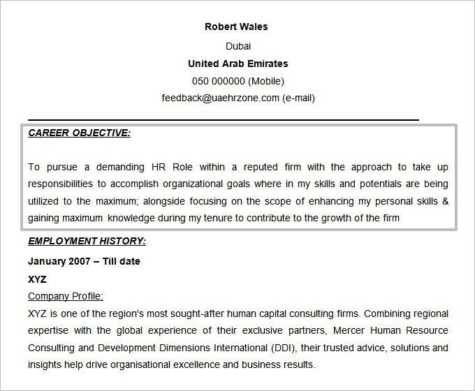 hr resume objective resume sample human resources executive resume ...