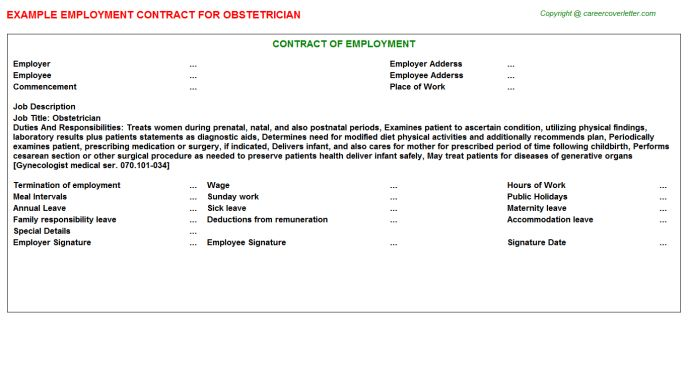 Obstetrician Job Title Docs