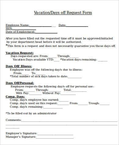 Vacation Request Form Sample] Sample Vacation Request Form 8 ...